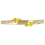 Julianna B Two Stone Yellow Sapphire and Diamond Accent Open Ring in 14k Yellow Gold
