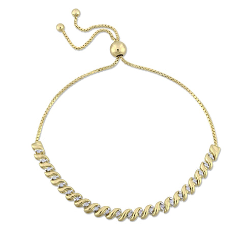 1/4 CT TW Diamond Bolo Bracelet in Yellow Plated Sterling Silver