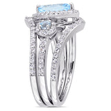 1 2/5 CT TGW Blue Topaz - Sky White Topaz Fashion Ring Silver