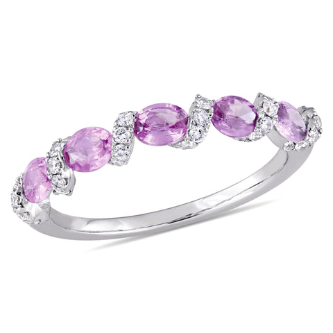 1/4 CT Diamond TW And 1 CT TGW Light Pink Sapphire Fashion Ring 14k White Gold GH I1