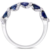 Oval Blue Sapphire and 1/4 CT TW Diamond Ribbon Ring in 14k White Gold