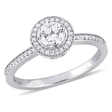 1/2 CT TW Diamond Halo Engagement Ring in 14k White Gold