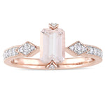 Octagon-cut Morganite and 1/10 CT TW Diamond Promise Ring with Diamond-accented 2-Prong Setting in 10k Rose Gold