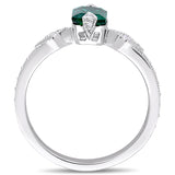 7/8 CT TGW Created Emerald and 1/4 CT TW Diamond  Ring in 10k White Gold