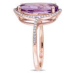 4 1/3 CT TGW Oval Cut Amethyst and 1/5 CT TW Diamond Halo Ring in 14k Rose Gold