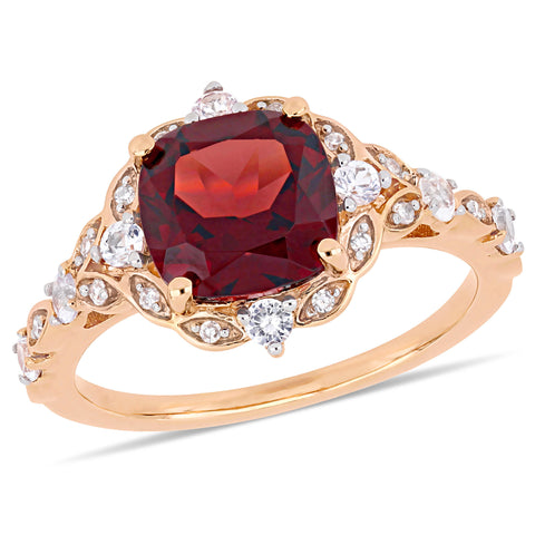 3 1/2 CT TGW Cushion-Cut Garnet, White Sapphire and Diamond Accent Vintage Ring in 14k Rose Gold