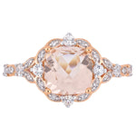 Cushion-Cut Morganite, White Sapphire and Diamond Accent Vintage-Inspired Halo Engagement Ring in 14k Rose Gold