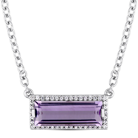 Baguette Cut African Amethyst and White Sapphire Halo Necklace in Sterling Silver