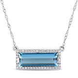 3 CT TGW Baguette Cut London Blue Topaz and 1/8 CT TW Diamond Halo Necklace with Extender in 14k White Gold