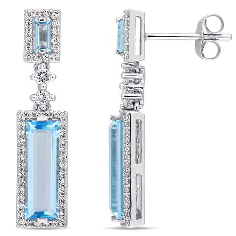 4 1/5 CT TGW Baguette Cut Swiss and Sky Blue Topaz and 1/3 CT TW Diamond Drop Earrings in 14k White Gold
