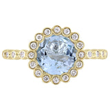 2 5/8 CT TGW Sky-Blue Topaz and White Sapphire Scalloped Halo Ring in 10k Yellow Gold