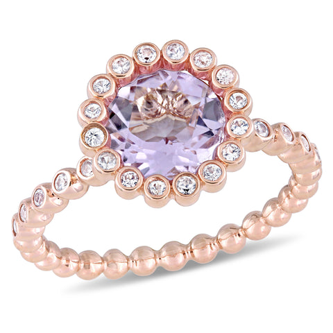Rose de France and White Sapphire Scalloped Halo Ring in 10k Rose Gold