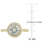 2 CT TGW Green Amethyst and White Sapphire Scalloped Halo Ring in 10k Yellow Gold