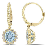 3 2/5 CT TGW Sky-Blue Topaz and White Sapphire Leverback Earrings in 10k Yellow Gold