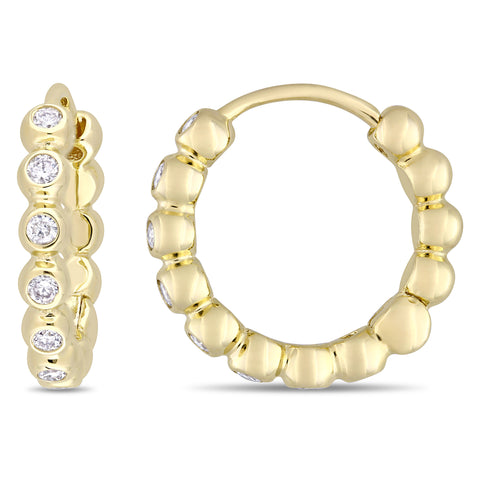 1/3 CT TW Diamond Hoop Earrings in 10k Yellow Gold