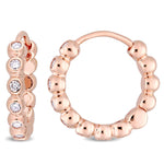 1/3 CT TW Diamond Beaded Hoop Earrings in 10k Rose Gold