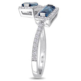Baguette Cut London Blue Topaz and 1/4 CT TW Diamond Halo Bypass Ring 14k White Gold