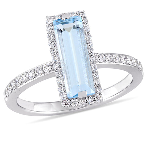 Baguette Cut Blue Topaz and 1/3 CT TW Diamond Halo Ring in 14k White Gold