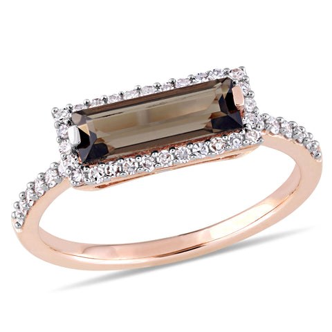 Baguette Cut Smokey Quartz and 1/4 CT TW Diamond Halo Ring in 14k Rose Gold
