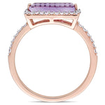 Baguette Cut Amethyst and 1/4 CT TW Diamond Halo Ring in 14k Rose Gold