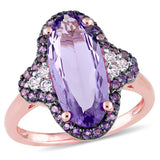 6 3/4 CT TGW Oval Cut Amethyst and African Amethyst and White Topaz Ring in Rose Plated Sterling Silver