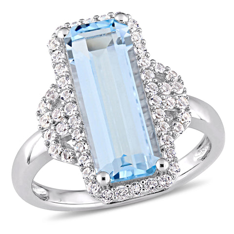 4 1/4 CT TGW Octagon Cut Blue Topaz and White Topaz Halo Ring in Sterling Silver
