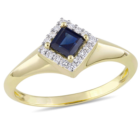 Princess Cut Sapphire and 1/10 CT TW Diamond Halo Ring in 14k Yellow Gold