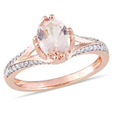 Morganite and 1/5 CT TW Diamond Engagement Ring in 14k Rose Gold