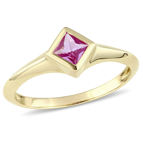 Princess Cut Pink Sapphire Solitaire Ring in 14k Yellow Gold