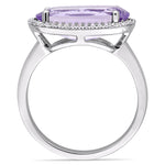 3 1/5 CT TGW Oval Shape Amethyst and White Topaz Halo Ring in Sterling Silver
