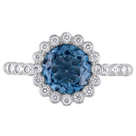 London Blue Topaz and 1/3 CT TW Diamond Halo Scalloped Ring in 14k White Gold