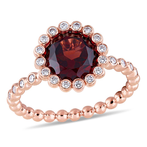 Garnet and 1/4 CT TW Diamond Halo Scalloped Ring in 14k Rose Gold