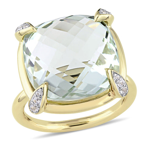 15 1/8 CT TGW Checkerboard-Cut Green Amethyst and White Sapphire Cocktail Ring in 14k Yellow Gold