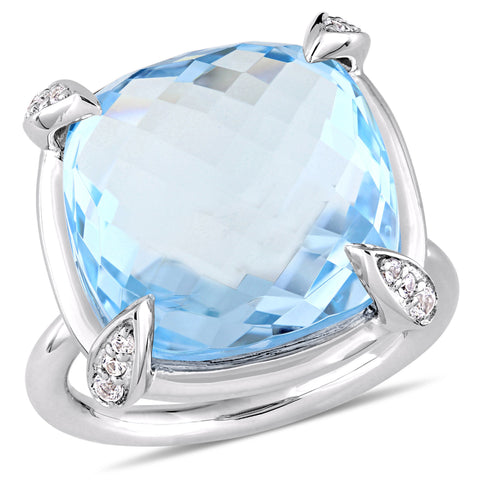 18 1/8 CT TGW Checkerboard Cut Sky Blue Topaz and White Sapphire Cocktail Ring in 14k White Gold