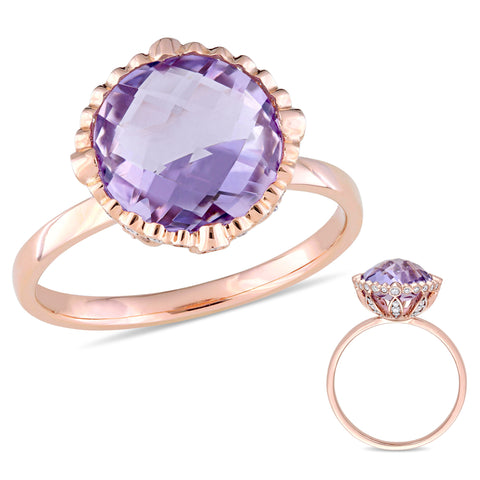 4 CT TGW Amethyst and 1/4 CT TW Diamond Hemisphere Ring in 14k Rose Gold