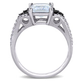 2 CT TGW Ice Aquamarine and 3/8 CT TW Black and White Diamond Ring in Sterling Silver with Black Rhodium Plated