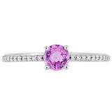 Pink Sapphire and 1/8 CT TW Diamond Solitaire Ring in 14k White Gold