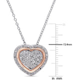 1/5 CT TW Diamond Two-Tone Triple Heart 3-in-1 Pendant in Rose and White Sterling Silver