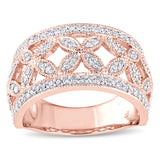 1/2 CT TW Diamond Floral Anniversary Band in 10k Rose Gold