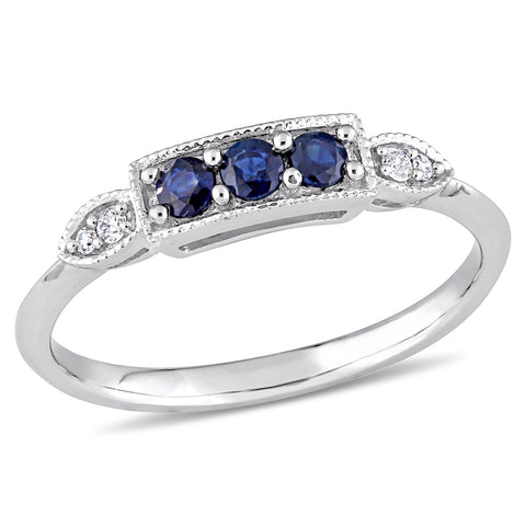 0.04 CT Diamond TW And 1/5 CT TGW Sapphire Fashion Ring 10k White Gold GH I2;I3