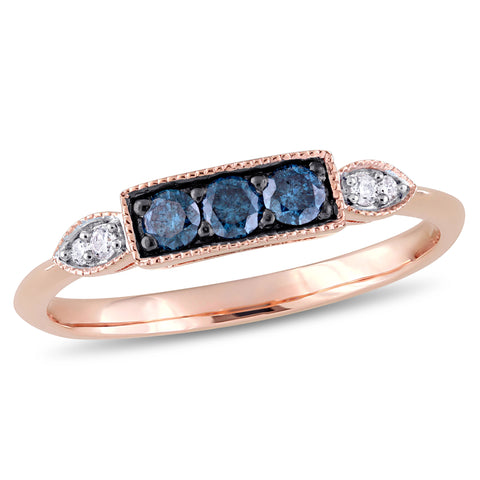 1/4 CT TW Blue and White Diamond 3-Stone Ring in 10k Rose Gold