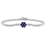 1-1/3 CT TGW Created Blue Sapphire, Created White Sapphire and Diamond Accent Stationed Floral Tennis Bracelet in Sterling Silver