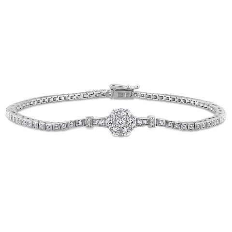 1-1/3 CT TGW Created White Sapphire and Diamond Accent Stationed Floral Tennis Bracelet in Sterling Silver