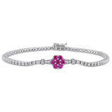 1-1/3 CT TGW Created Ruby, Created White Sapphire and Diamond Accent Stationed Floral Tennis Bracelet in Sterling Silver