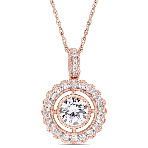 1-3/8 CT TGW Created White Sapphire Floating Floral Halo Pendant with Chain in 10k Rose Gold