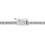 3 3/4 CT TGW Oval-Cut Created Ruby and Round-Cut Created White Sapphire Stationed Tennis Bracelet in Sterling Silver