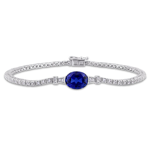 3 3/4 CT TGW Oval-Cut Created Blue Sapphire and Round-Cut Created White Sapphire Stationed Tennis Bracelet in Sterling Silver