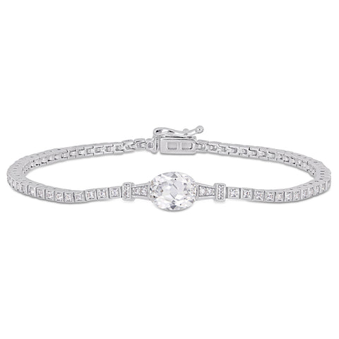 3 3/4 CT TGW Oval and Round-Cut Created White Sapphire Stationed Tennis Bracelet in Sterling Silver