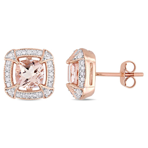 Morganite, Created White Sapphire and 1/5 CT TW Diamond Halo Stud Earrings in 10k Rose Gold