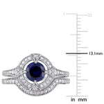 1/3 CT Diamond TW And 1 1/6 CT TGW Created Blue Sapphire Created White Sapphire Fashion Ring Silver GH I2;I3